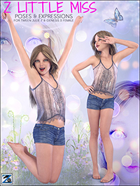 Z Little Miss Poses & Expressions for Tween Julie 7 & Genesis 3 Female