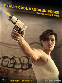 Really Cool Handgun and Poses for Genesis 3 Male