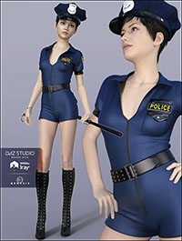 H&C Sexy Police Costume for Genesis 3 Female(s)