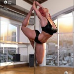 Z Pole Dance Studio and Poses for Genesis 3 and 8 Female