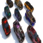 Pack Of 9 low poly game ready monster death race cars