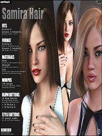 Samira Bob Hair for Victoria 4 and Genesis 3 Females by outoftouch