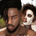 Killmonger Hair and Beard for Genesis 3 and 8