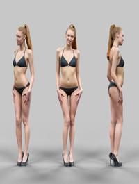 Sexy Girl in Black Bikini And high heels Posing 2